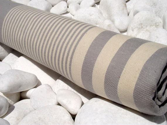 High Quality Hand Woven Turkish Cotton Bath,Beach,Pool,Spa,Yoga Towel or Sarong-Natural Cream Stripes on Gray,Grey