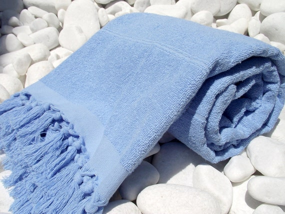 High Quality Hand Woven Turkish Cotton Thick Soft Bath,Beach,Pool,Spa,Yoga Towel or Sarong-Light Blue Stripes