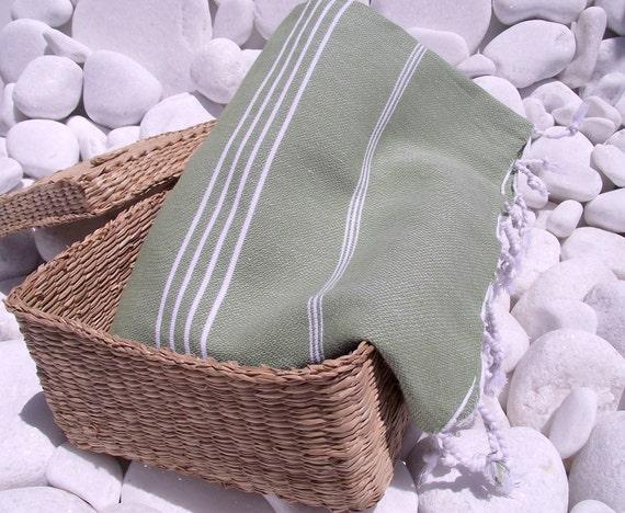 High Quality Hand Woven Turkish Cotton Bath,Beach,Pool,Spa,Yoga,Travel Towel or Sarong-White Stripes on Olive Green