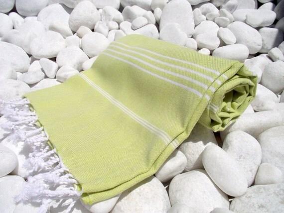 High Quality Hand Woven Turkish Cotton Bath,Beach,Pool,Spa,Yoga,Travel Towel or Sarong-White Stripes on Lime,Apple Yellow Green