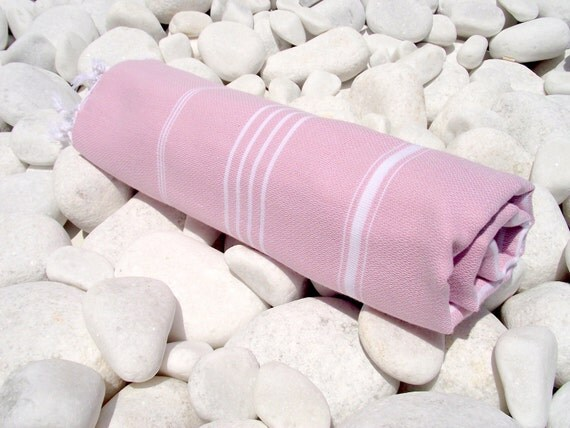 High Quality Hand Woven Turkish Cotton Bath,Beach,Pool,Spa,Yoga,Travel Towel or Sarong-White Stripes on Pale Lilac Pink