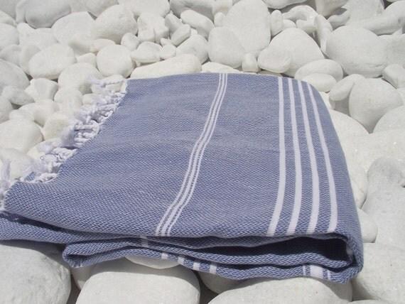 Set of 3-High Quality Hand Woven Turkish Cotton Bath,Beach,Pool,Spa,Yoga,Travel Towel or Sarong-White Stripes on Denim Blue