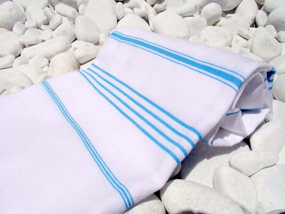High Quality Hand Woven Turkish Cotton Bath,Beach,Pool,Spa,Yoga,Travel,Boat Trip Towel or sarong-Turguoise Stripes on White