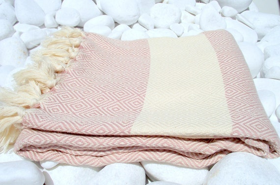 High Quality Hand-Woven Turkish Cotton Bath,Beach,Pool,Spa,Yoga,Travel Towel or Sarong-Pale Pink and Natural Cream,Ivory