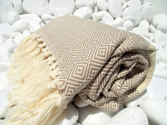 High Quality Hand-Woven Turkish Cotton Bath,Beach,Pool,Spa,Yoga,Travel Towel or Sarong-Light Beige and Natural Cream,Ivory