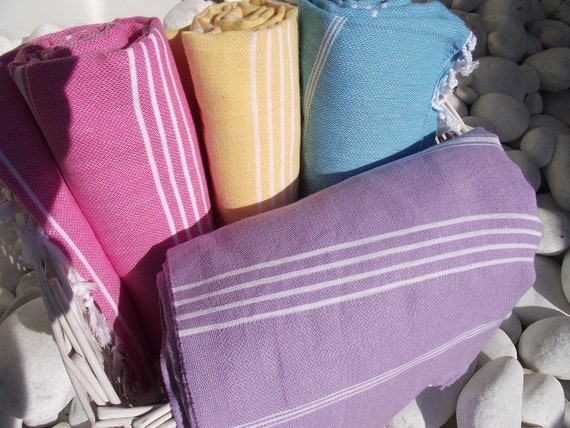 High Quality Set of 4 Hand WovenTurkish Cotton Bath Towels or Sarong-Soft Spring Colors-Purple,Wisteria-Yellow-Pink-Turquoise