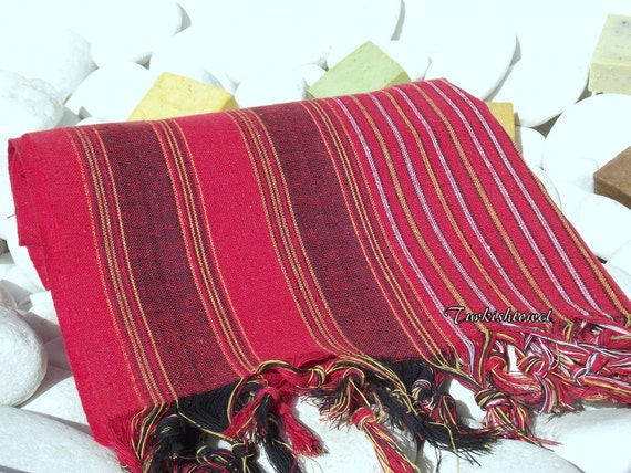 Set of 4-Best Quality,Hand Woven,Light Turkish Cotton Bath,Beach,Pool,Spa,Yoga Towel or Sarong-Black,White Stripes on Red