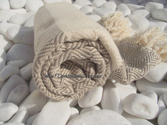 High Quality Hand-Woven Turkish Cotton Bath,Beach,Pool,Spa,Yoga,Travel Towel or Sarong-Beige and Natural Cream,Ivory