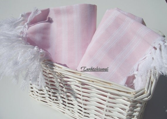 Set of 2-High Quality,Hand Woven,Light,Turkish Cotton,Bath,Beach,Spa,Yoga,Travel,Towel or Sarong-So Pale Pink and White Stripes
