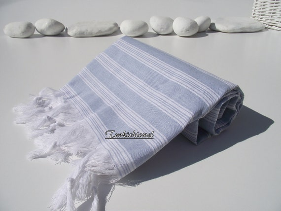 High Quality,Hand Woven,Light,Turkish Cotton,Bath,Beach,Spa,Yoga,Travel,Towel or Sarong-Pale Blue and White Stripes