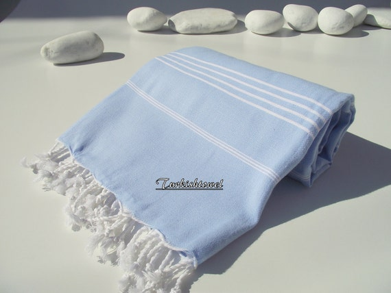 High Quality,Hand-Woven,Turkish Cotton,Bath,Beach,Spa,Yoga,Pool,Travel,Towel or Sarong-Light,Pastel, Blue and White Stripes