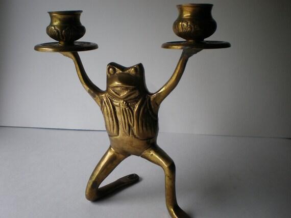 Vintage Brass Frog Candlestick
