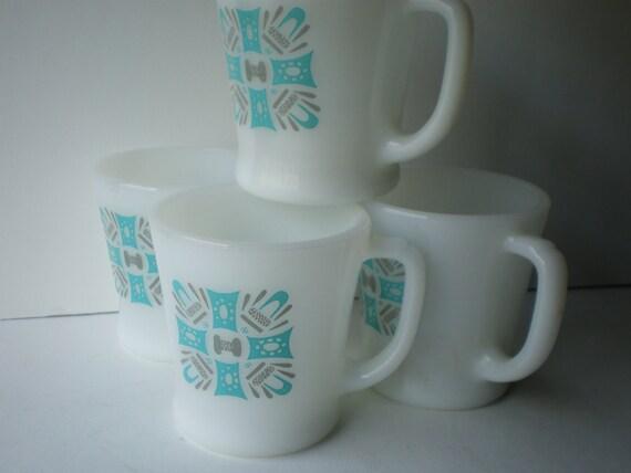 Royal China 4 Mug Set Blue Heaven Pattern
