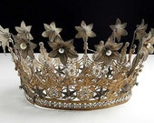 Huge Antique French RARE Mercury Glass Balls Paste Stones Crown Tiara Late 1800s  -  As Seen on new TV Show - It's Worth What on NBC - ParisPanacheAntiques