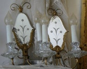 Antique French Etched Mirror Wall Sconces Pair