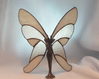 Butterfly Lady Dressed in Cream Colored Stained Glass
