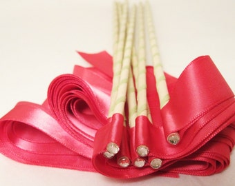 Enchanted Wedding Ribbon Wands 50 Pack IN YOUR COLORS (shown in hot pink)