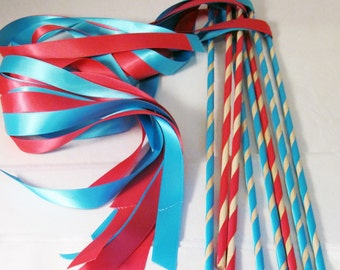 Enchanted Wedding Ribbon Wands 50 Pack IN YOUR COLORS (shown in hot pink and turquoise) Unique wedding ceremony exit idea