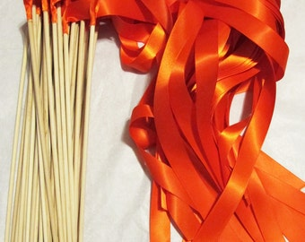 50 Magical Wedding Ribbon Wands IN YOUR COLORS (shown in orange) Perfect ceremony exit, unique, colorful and simple