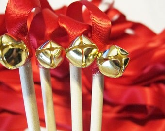 50 Magical Wedding Ribbon Wands in YOUR COLORS with BELLS (shown in red with gold bells) Colorful wedding ceremony exit idea