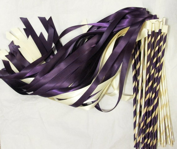 Custom Enchanted Wedding Ribbon Wands 50 Pack IN YOUR COLORS (shown in eggplant plum purple and ivory) Unique wedding ceremony exit idea