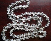 SALE 1960s Clear Faceted Glass Bead Necklace Strand