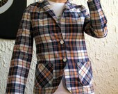 SALE 1960s Handmade Primary Colors Plaid Blazer