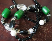 SALE Vintage Alexis Kirk Black and Kelly Green Long Evening Necklace