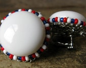 Vintage Miriam Haskell American Pride Plastic and Seed Bead Earrings