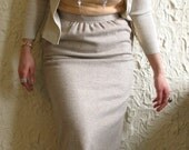 1980s Deadstock Evan Picone High Waisted Taupe Diagonal Lines Pencil Skirt