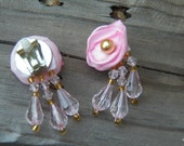 Clip Earrings, Little Girl Earrings, Victorian Style Earrings, Pearl Flower Earrings, Fabric Earrings, Beaded Earring, Dangle Earring