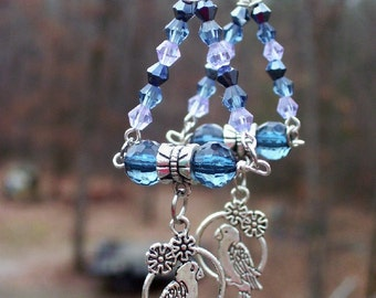 Parakeet swing earrings with muted blue and purple swarovski beads,dangle, pierced