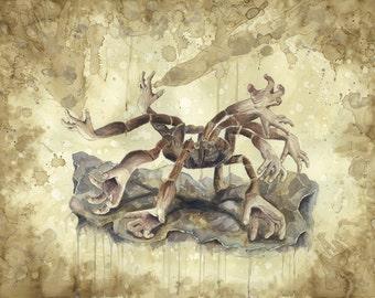 Fine Art PRINT, Original Painting, Tarantula, Animal Painting, Monochromatic Painting, Monster Print, Science Fiction Art, Science Art