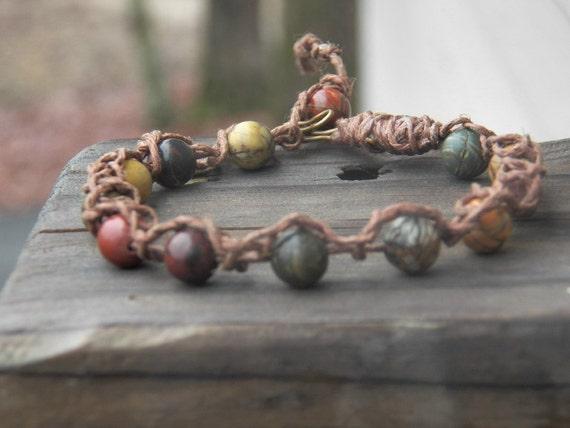 Men's Bracelet/anklet, Picasso Gemstone Bracelet Crocheted Bracelet, Stone Bracelet, Chocolate Jute Bracelet, Round Multi-color