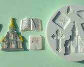 Food Grade Mold (M05) - Church & Communion Theme Design - Flexible Cake Decorating Mold - Reusable - The Art of Cake Decorating