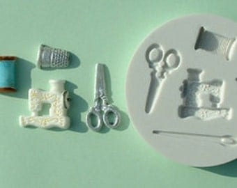 Food Grade Mold (M12) - Sewing Theme Design - Flexible Cake Decorating Mold - Reusable - The Art of Cake Decorating