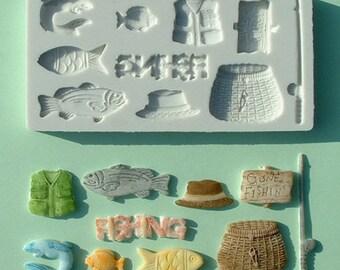 Food Grade Mold (M15) - Fishing Theme Design - Flexible Cake Decorating Mold - Reusable - The Art of Cake Decorating