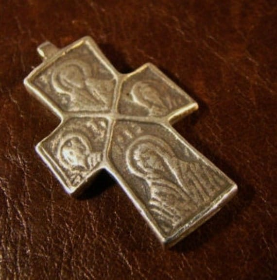 Ancient Byzantine Silver Cross Pendant- Detailed