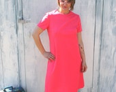 60s Vintage HOT PINK Dream Dress....size large....mod. bright. daydress. pink. retro. 60s dress