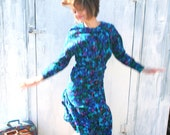 1960s BLUE FLORAL Retro Wiggle Twirl Dress....size medium....mod. retro. 60s dress. floral. ruffles. party dress. teal. pink.
