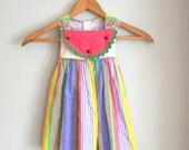 Vintage STRIPED WATERMELON Colorful Girls Dress....size 2 size 2T....girls. kids. children. summer dress. stripes. bubble gum pink