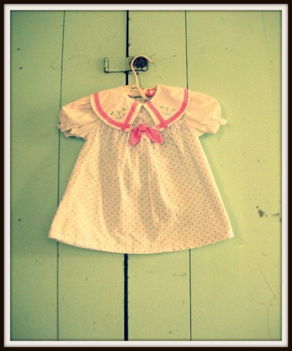 Vintage POLKA DOT SAILOR Dress....24 months.....pink. blue. nautical. sailor girl. girl dress. polka dots. fancy. toddler