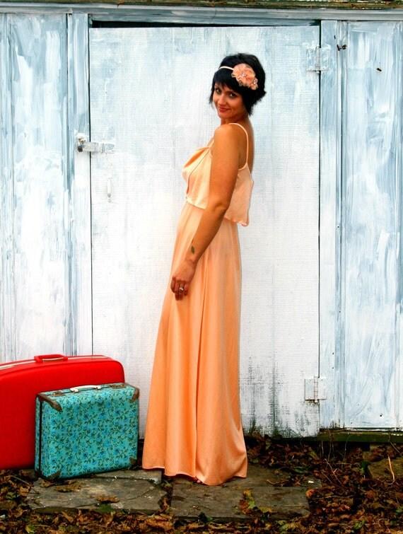 Vintage Fancy PEACH Dream Dress.... small..........80s dress. peach. fancy. maxi. classic. mod