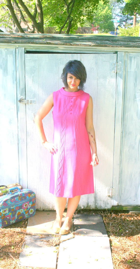 1960s BUBBLE GUM Dress .....size large....mod. pink. secretary. fancy. pink dress. candy. vintage fashion. 60s dress. twiggy.