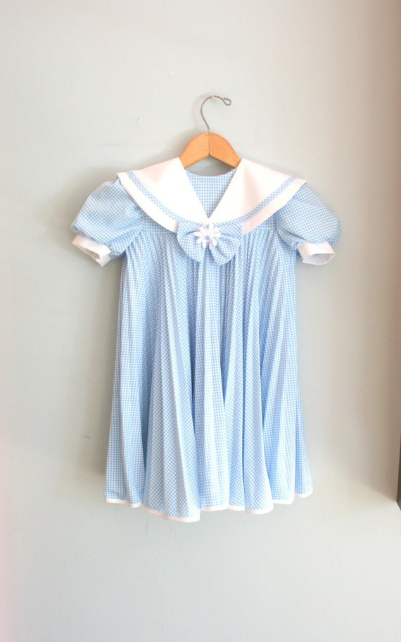 80s BLUE CHECKERED BOWTIE Ruffled Flower Girl Dress....size 5 girls.....kids. children. ruffles. bow tie. floral. checkered. blue. spring.