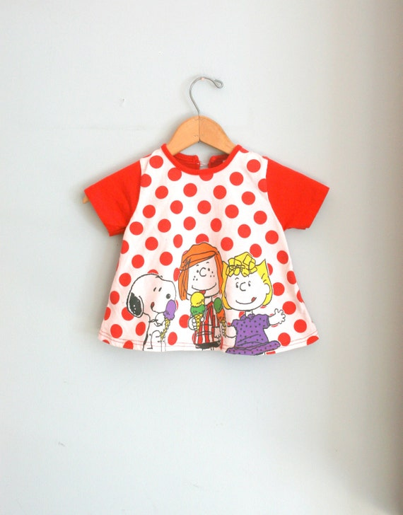 80s CHARLIE BROWN Polka Dots Red Girls Top....size 3 size 3T.....girls. kids. children. red. dots. icecream. retro. novelty. peanuts
