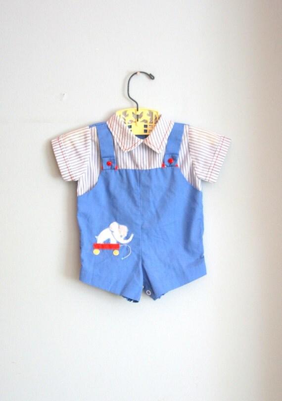 60s Vintage BLUE ELEPHANT Boys Striped Onesie Jumper ....size 3 to 6 months....kids. boys. baby. animal print. retro. onesie. children.