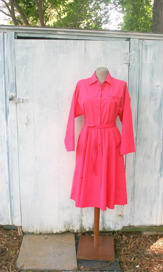 1960s HOT PINK Wiggle Twirl Dress.....size medium to large......60s dress. american shirt dress. pink. bright. mod. retro. classic