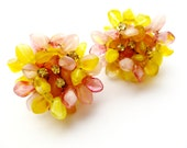 Vintage Les Bernard Yellow and Pink Art Glass Cluster Earrings