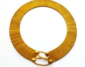 Vintage Egyptian Revival Articulated Mesh Collar Necklace
